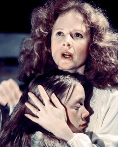 Margaret White, played by Piper Laurie, comforts her daughter Carrie, played by Sissy Spacek, in Brian De Palma's horror film 'Carrie', 1976. (Photo by Silver Screen Collection/Getty Images)